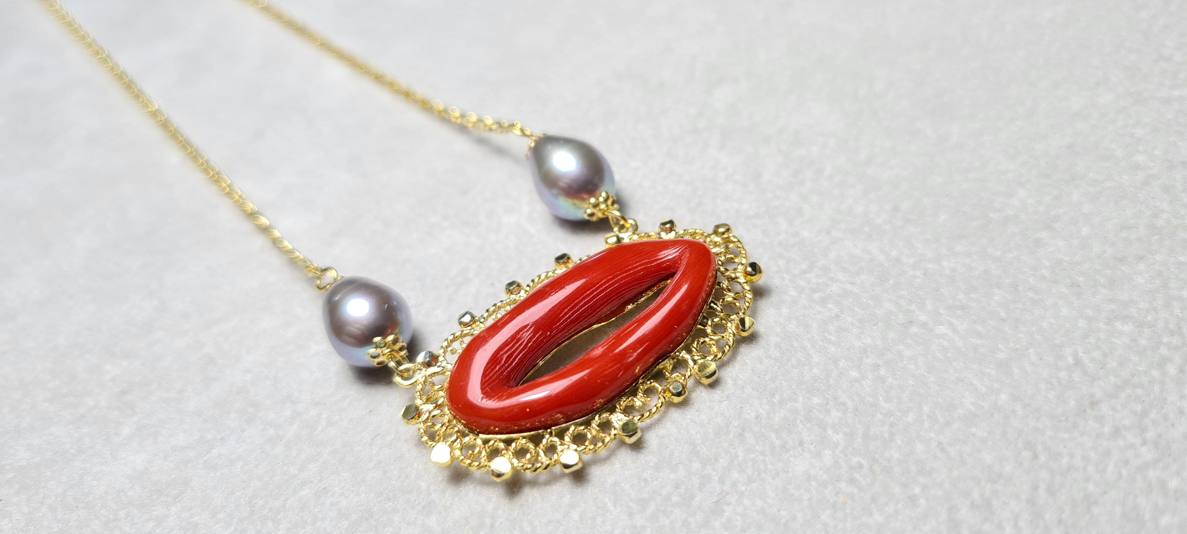 Coll perle coral silver